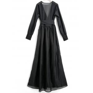 Plunging Neck Long Sleeve Women's Dress -