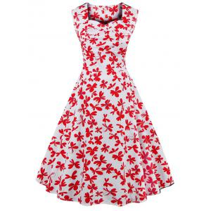Sweetheart Neck Allover 50s Swing Dress - Red With White - S