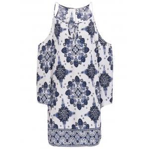 Chic V-Neck 3/4 Sleeve Cut Out Printed Dress For Women - Blue And White - S