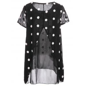 Women's Trendy Scoop Neck Short Sleeve Chiffon Polka Dot Blouse -