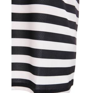 Striped Short Sleeve Casual Dress - WHITE/BLACK M