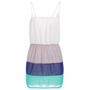 Sweet Spaghetti Strap Color Block Summer Dress For Women - White - Xl