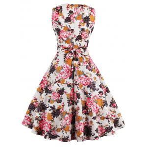 Flare Knee Length Floral 50s Swing Dress - RED M