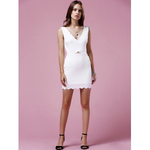 Sweet V-Neck Sleeveless Scalloped Hem Bodycon Dress For Women -