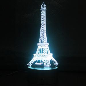 Creative Gradient Color 3D Eiffel Tower Shape Touch Switch LED Night Light - Silver