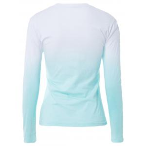 Light Blue M Casual Scoop Neck Long Sleeve Ombre Lace-up T-shirt ...