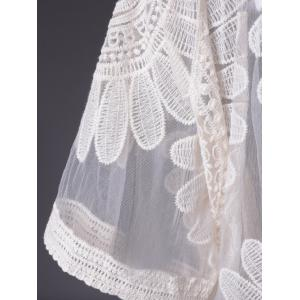 Simple Design Lace Solid Color Short Sleeves Blouse For Women -