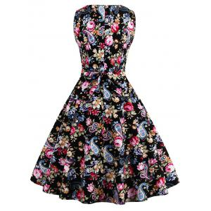 Tie Back Floral 50s Swing Dress -