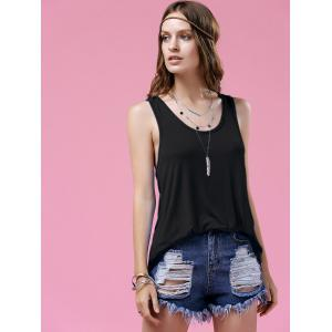 Stylish Scoop Neck Twist Back Design Women's Tank Top -