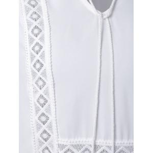 Alluring V-Neck Long Sleeve Hollow Out Women's White Blouse - WHITE L