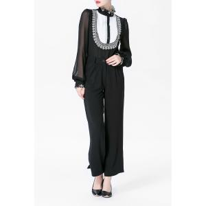 Ruffled Printed Shirt and Black Straight Pants Suit -