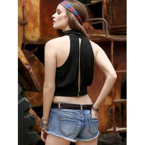 Alluring Stand Collar Sleeveless Hollow Out Ruched Crop Top For Women - BLACK 2XL