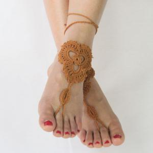 Pair of Vintage Floral Woven Sandal Anklets For Women -
