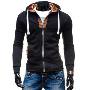 Hooded Drawstring Long Sleeve Selvedge Embellished Men's Hoodie