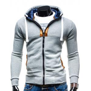 Hooded Drawstring Long Sleeve Selvedge Embellished Men's Hoodie - Light Gray - L