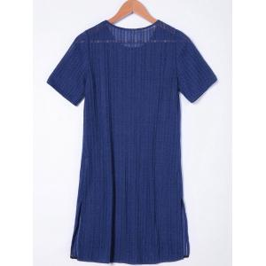 Short Sleeves Casual Shift Dress - NAVY BLUE L