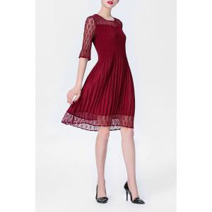Solid Color Folded Lace Spliced Dress -