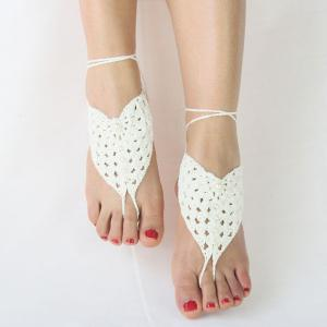 Pair of Vintage Faux Pearl Woven Girl Sandal Anklets - WHITE