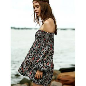 Casual Off-The-Shoulder Long Sleeve Floral Print Dress -