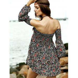Casual Off-The-Shoulder Long Sleeve Floral Print Dress - COLORMIX 2XL