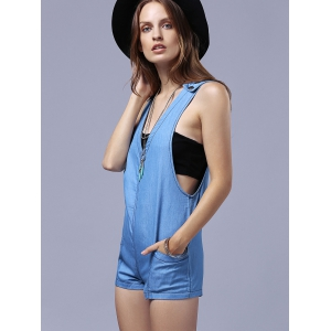 Plunging Neck Sleeveless Short Denim Romper with Pocket -