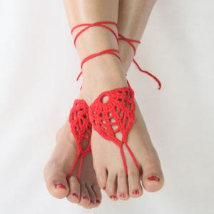 Pair of Vintage Hollow Out Woven Sandal Anklets For Women -