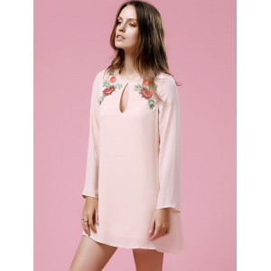 Long Sleeve Floral Embroidery Casual Dress - LIGHT PINK XS