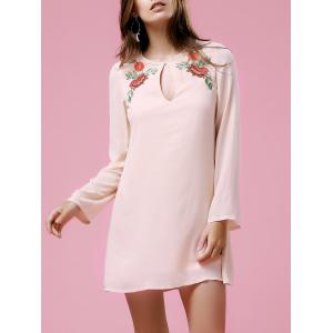 Long Sleeve Floral Embroidery Casual Dress