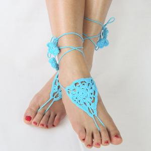 Pair of Vintage Floral Triangle Woven Girl Sandal Anklets -