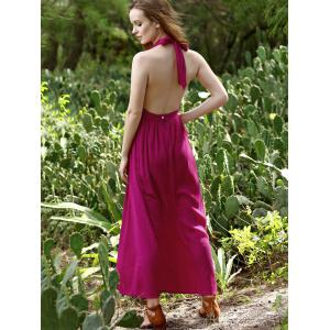 Trendy Plunging Neck Backless Red Dress For Women -