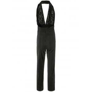 Plunging Neck Sleeveless Backless Jumpsuit - BLACK M