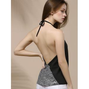 Halter Sequin Backless Tank Top - SILVER XL