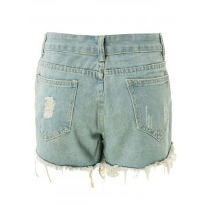 Bleach Wash Frayed Tassel Denim Jeans Shorts For Women -