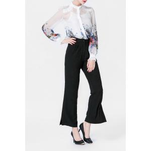 Printed Shirt and Cami Tank Top and Black Wide Leg Pants Suit -