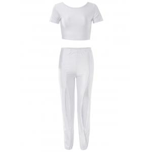Sexy Scoop Neck Short Sleeve Crop Top + Elastic Waist Hollow Pants Women's Twinset