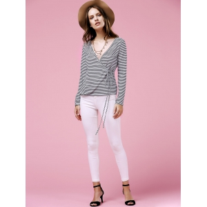 Casual Tie Wrap Front Plunging Neck Striped Long Sleeve Tee For Women -