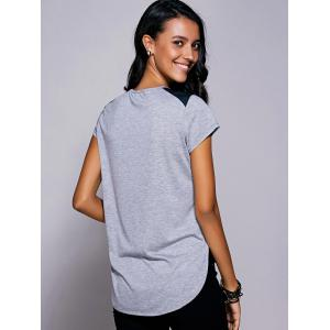 Casual Short Sleeves Print High Low T-Shirt For Women - GRAY L