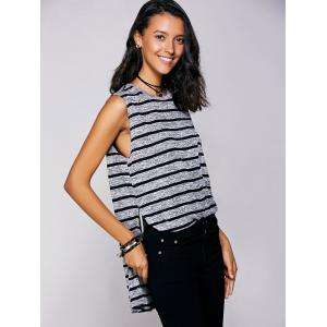 Casual Jewel Neck Striped Slit Top For Women - BLACK L