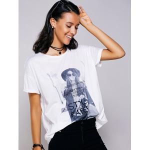 Casual Short Sleeves Figure Print T-Shirt For Women - WHITE L