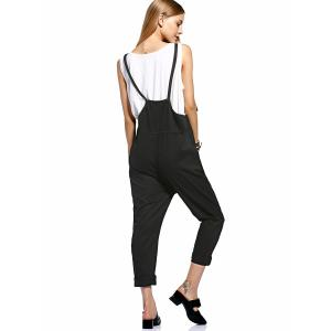 Fashionable Front Slit Pockets Drop Crotch Women's Overalls -