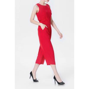 Red Tank Top and High Waist Wide Leg Pants Suit -