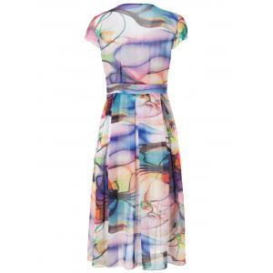 Short Sleeve V-Neck Chiffon Printed Dress - AS THE PICTURE L
