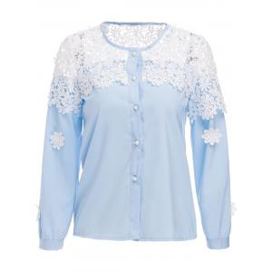 Stylish Round Neck Long Sleeve Lace Spliced Hollow Women's Blouse - Blue - M