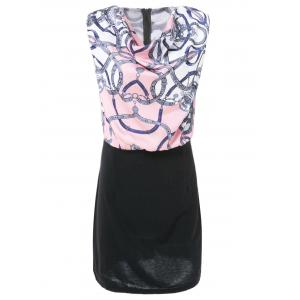 Elegant Draped Collar Printed Sleeveless Bodycon Chiffon Dress For Women