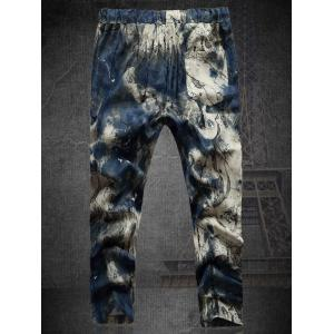 Plus Size Multicolor Lace-Up Straight Leg Tie-dyed Nine MInutes of Pants For Men -