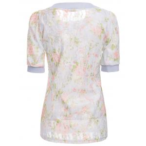 Sweet Scoop Neck Floral Pattern 1/2 Sleeve Lace Women's T-Shirt -