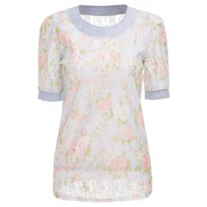 Sweet Scoop Neck Floral Pattern 1/2 Sleeve Lace Women's T-Shirt - Azure - Xl