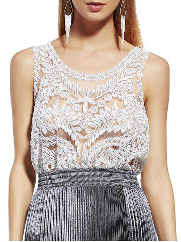 Online Stylish Scoop Neck Lace Silk Thread See-Through Sleeveless Blouse For Women