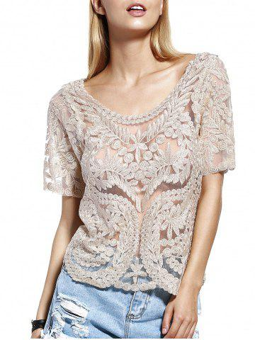 Shops Stylish Scoop Neck Lace Silk Thread See-Through Short Sleeves Blouse For Women LIGHT KHAKI ONE SIZE(FIT SIZE XS TO M)