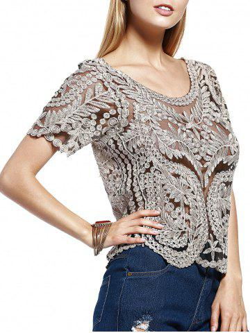 Sale Stylish Scoop Neck Lace Silk Thread See-Through Short Sleeves Blouse For Women